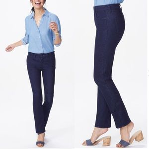 NYDJ Dark Slim Straight High Rise Jeans